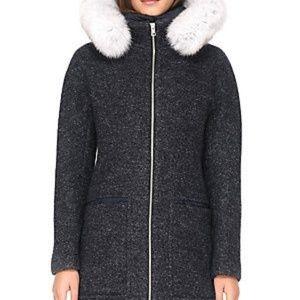 Soia & Kyo Wool Blend Down Filling Fox Fur Coat